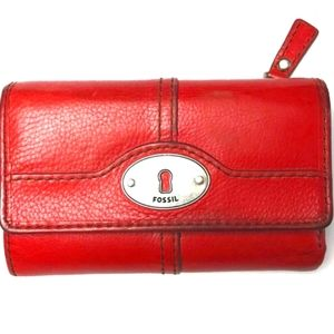 Vintage Fossil keyhole poppy red trifold wallet